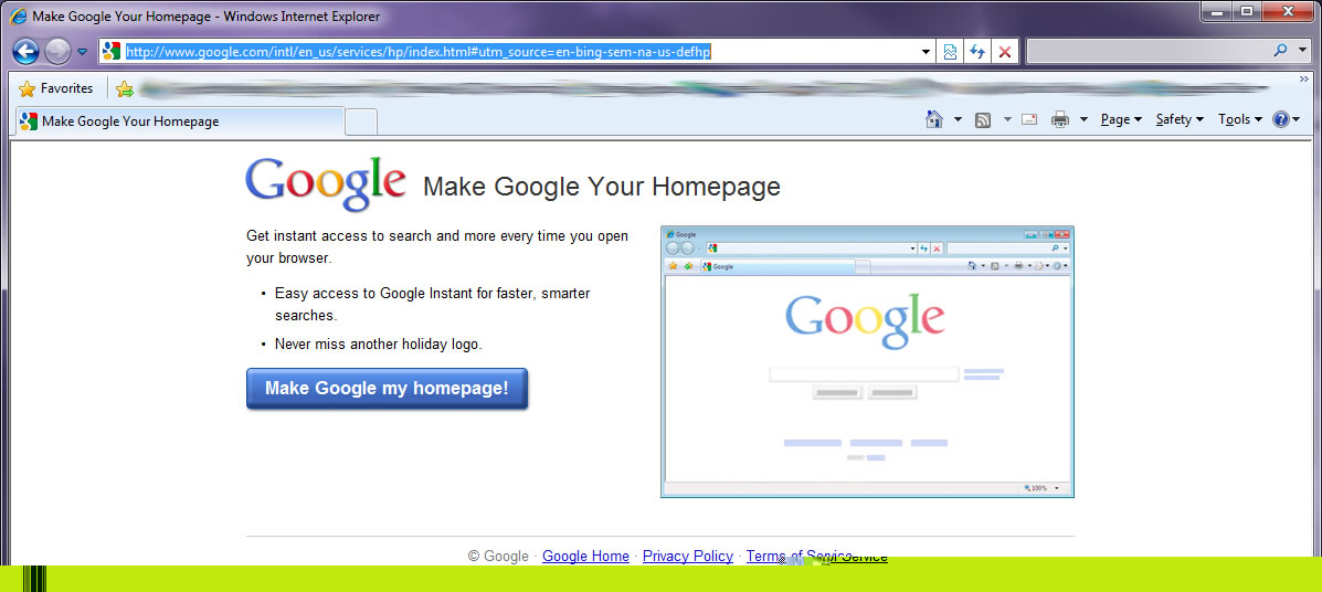 I Don't Want Google As My Home Page So SHOVE OFF