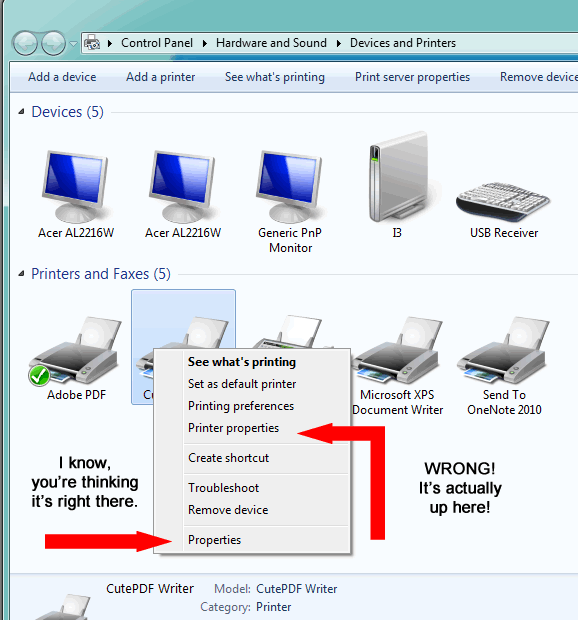 Windows 7 and Vista Printer Properties!