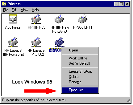 Windows 95 printer properties.